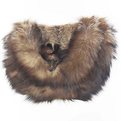 Vintage Real Fur Muff w/ Head, Hand Warmer Purse Fanny Pack - Silver Fox?