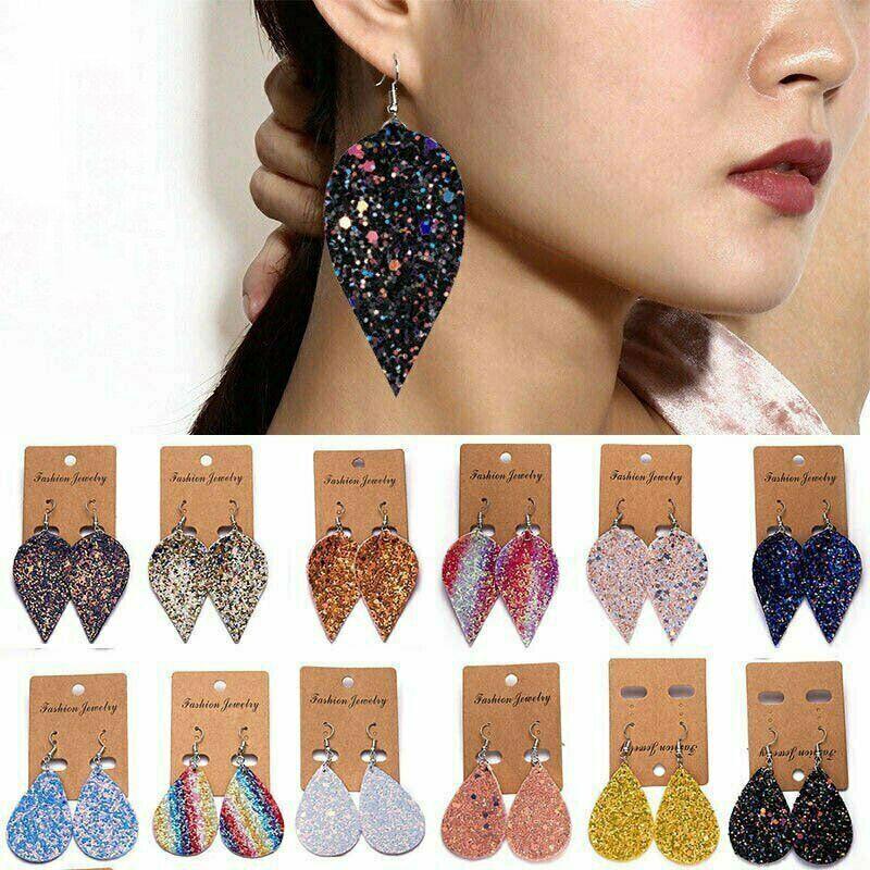Women Bling Leaf Teardrop Leather Earrings Ear Stud Hook Dro