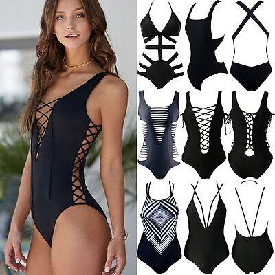 Womens One Piece Swimsuit Bandage Bikini Push Up Padded Bra Bathing Swimwear Usa