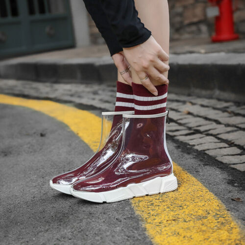 Fashion Women Athletic PVC Clear Ankle Boots Creepers Sneakers Transparent Shoes