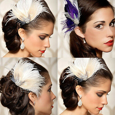 WHOLESALE Women Feather Hair Clip Rhinestone Hair Clip Party Bridal Wedding sy