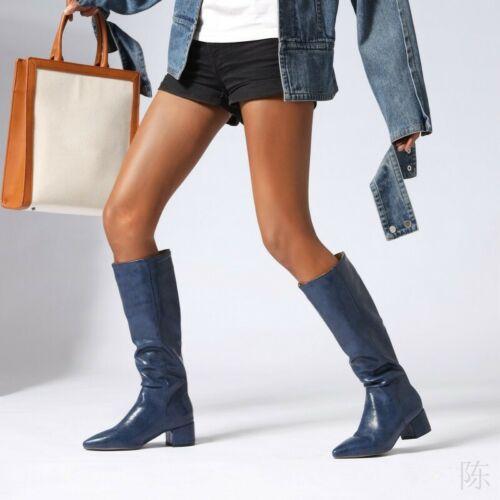 Bottes genou mi-mollet solides femmes enfiler talon épais bout pointu chaussures