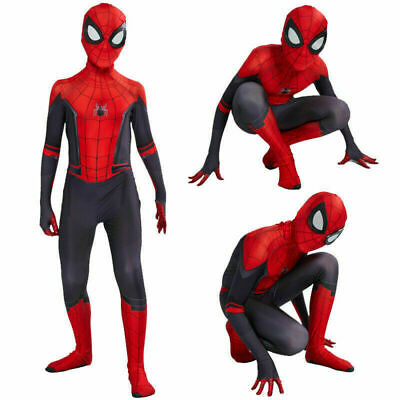 Spiderman Costume Children (Spider-Man Far From Home Man Boys Kids Jumpsuits Zentai Cosplay Costume)