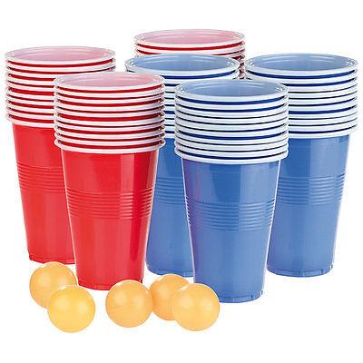 Bierpong: Trinkspiel-Set Bier Pong mit 60 Bechern (je 450 ml) und 5 Bällen