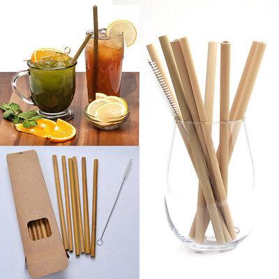 10pcs Bamboo Drinking Straws Reusable Eco-Friendly Party Kitchen + Clean (Bamboo Drinking Straws)
