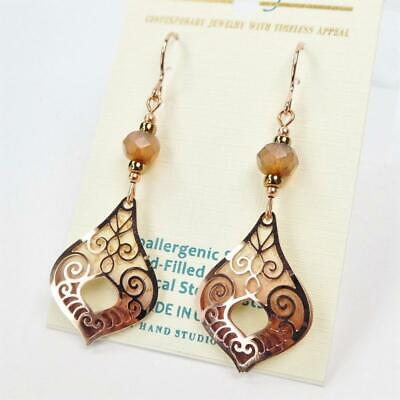 - Adajio Earrings Taupe Teardrop with Shiny Rose Gold Plated Moroccan Overlay 7939