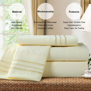 New Bed Sheet Set, 4-Piece Soft Brushed Microfiber Bedding