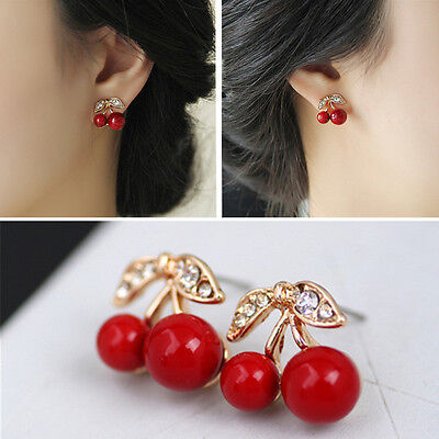 Charm Fashion Red Cherry Crystal Rhinestone Gold Plated Stud Earrings Jewelry