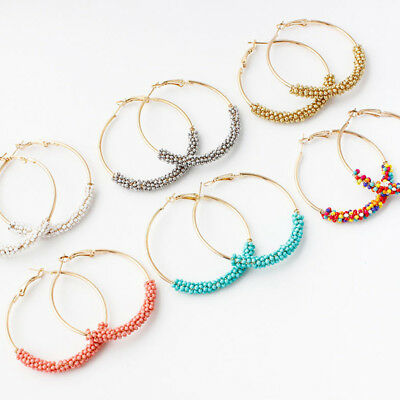 Fashion Women Handmade Seed Beads Boho Hoop Round Earrings Ear Stud Jewelry Gift ()