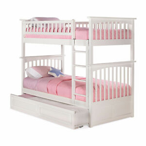 High End Twin Size White Bunk Beds + Trundle Bed & 2 Mattresses
