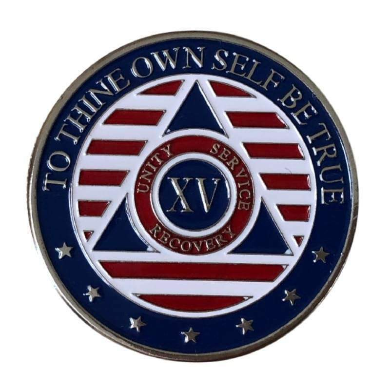 15 Year Patriotic Stars and Stripes AA/NA Recovery Medallion - Red/White/Blue