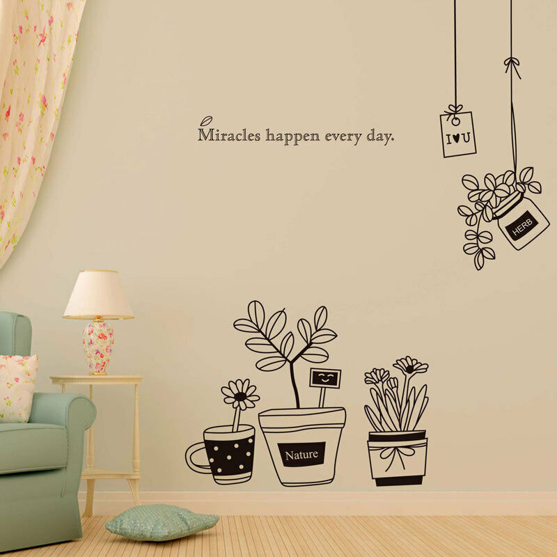 Home Decoration - Removable Wall Stickers Flowers Herbs Black White Pots Home Decor DIY Decals
