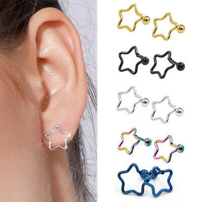 Aluminum alloy pentagram Ear Cartilage Tragus Helix Stud Bar Earrings Piercing