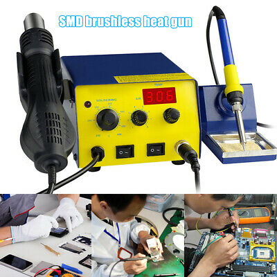 750w 110v 761d Smd Brushless Heat Gun Digital Soldering Iron Station With Stand