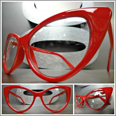 CLASSIC VINTAGE RETRO 60s CAT EYE Style Clear Lens EYE GLASSES Red Fashion Frame](Red Glasses Frames)