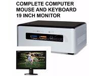 Desktop Micro Computer Very Fast 240GB SSD 4GB Ram 19 Inch Monitor
