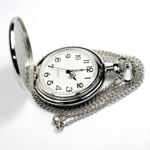 Herren Mechanische Taschenuhr Hochglanz Muschelschale Silber Quarzuhr+ Kette NEU