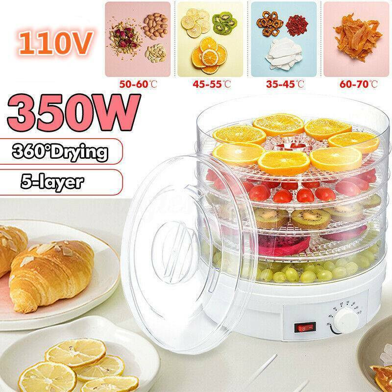 US 5 Trays Food Dehydrator Fruit Vegetable Meat Dryer Drying
