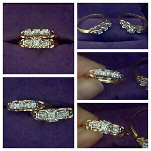 14k gold bridal ring set