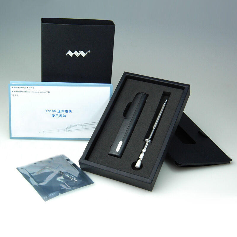 TS100 Mini Portable Digital LCD Programable Soldering Iron Kit PR-BC2 Tip DC5525