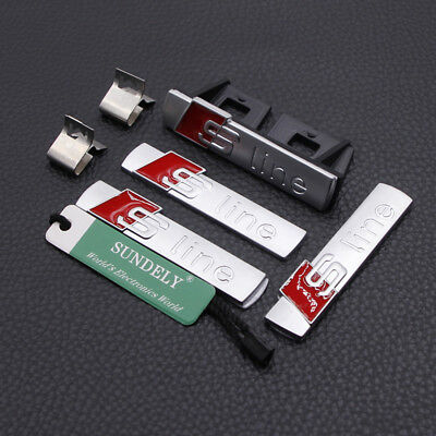 4Pcs 3D Matte Silver S Line GriIll Sport Emblem Badge Body Decals For Audi S8 Q3