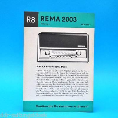 Rema 2003 Mittelsuper DDR 1966 | Prospekt Werbung DEWAG Werbeblatt R8