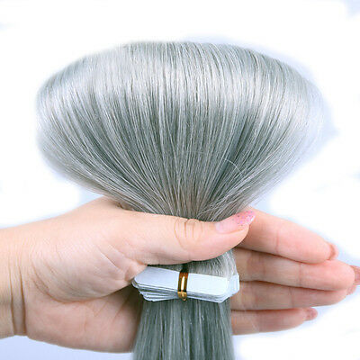 16-24Inch Sliver Gray Tape In Pu 100% Remy Human Hair Extension Ombre Skin Weft (Sliver Hair)