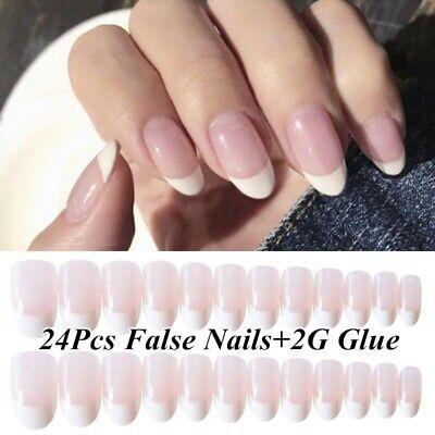 24pcs Natural Pink French Style False Nail Tips Fake Artificial Nails w/ 2g Glue