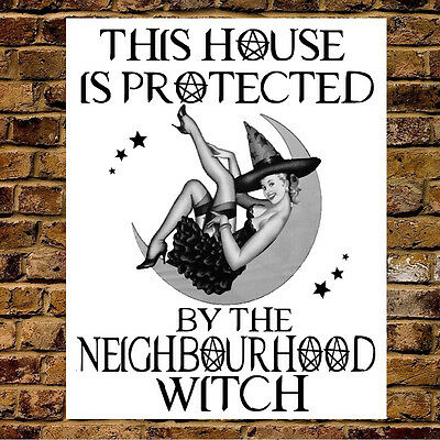Metal Wall Sign Wicca Halloween Neighbourhood Witch Watch Funny Gift Present  - Halloween Signs Funny