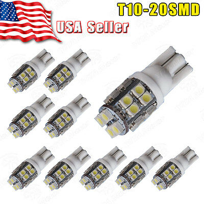 10x T10 20-SMD LED 6000k White Super Bright Interior Light Bulb 194 168 2825 W5W](Led White Lights)