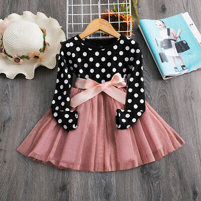 Baby Holiday Dresses (Kids Baby Girls  Polka Dots Dress Long Sleeve Ribbon Bow Party Dresses Size)