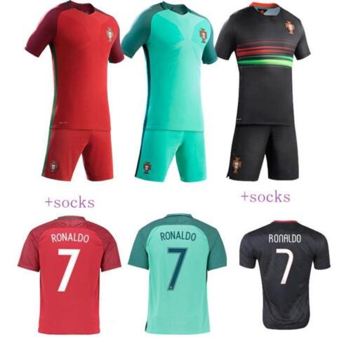2016-2017 NEW RONALDO Kit T-shit Football  Short Sleeve Kid Boy Youth 3-14+socks