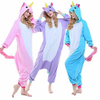 Damen Herren Tier Onesie Karneval Fasching Kostüm Einhorn Erwachsene Jumpsuits