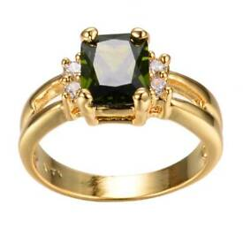 Olive Green Peridot Ring Yellow Gold Filled Wedding Band Size 10