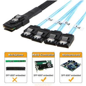 1m SAS 36P SFF-8087 to 4 X SATA 7Pin HD Splitter Breakout Blue Cable as07