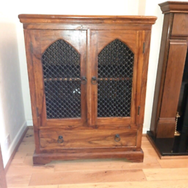 Solid Wood Cabinet Sheesham Jali Cupboard Unit Sideboards