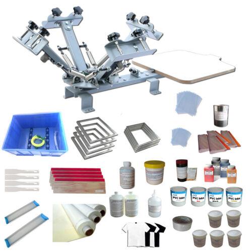4 Color 1 Station Screen Printing Kit Silk Screen Press Machine DIY Printer