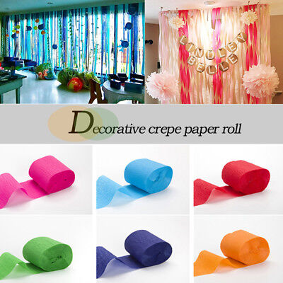 Crepe Decorations (3 Roll Crepe Paper Rolls Streamer Wedding Birthday Party Decoration Curtain)