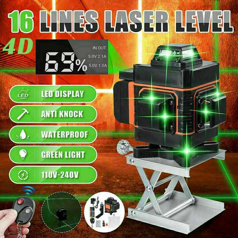12/16Line Laser Level 3/4D Grünes Licht 360° Selbstnivellierend Kreuzlinienlaser
