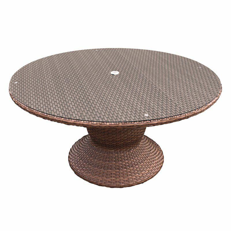 "TK Classics Laguna 60"" Round Patio Dining Table in Caramel"