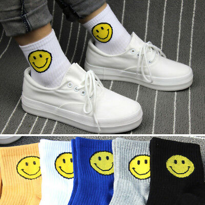 New 1Pair Girls Harajuku Style Smiling Face Pattern Striped Tube Short Socks - Short Girls Tube