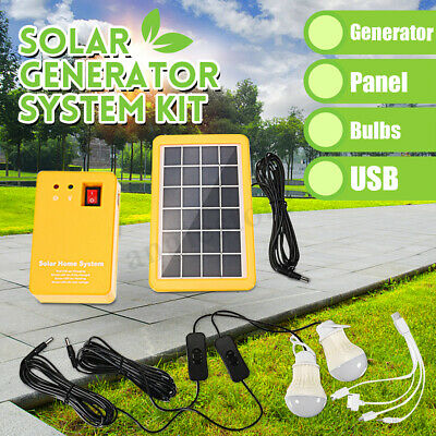 Solar Power Panel Generator LED Light USB Charger Home System Outdoor Garden US