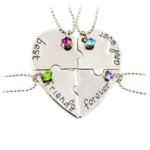 Heart Best Friend Forever BFF Friends Puzzle Friendship Crystal Necklace Gift 4P