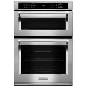 """KitchenAid KOCE500ESS 30"""" Combination Wall Oven Microwave with Even-Heat True Convection (lower oven) Self Clean"""