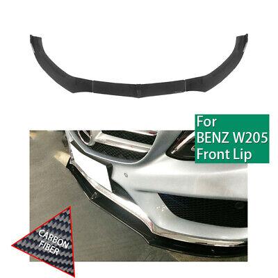 Front Bumper Lip For 2015-2017 Benz C-Class W205 Sport Carbon Fiber DP Style
