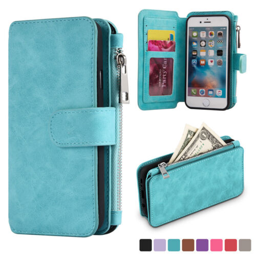 $12.99 - Luxury Genuine Leather Flip Wallet Phone Case Cover for iPhone 6 6s Plus Samsung