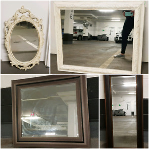 Vintage white and contemporary beveled mirrors