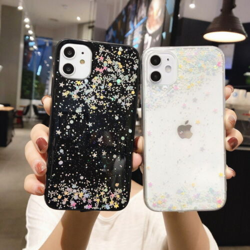 For iPhone 11 Pro Max X 7 8 Case Clear Shiny Bling Girl Cute