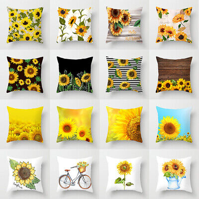 Summer Sunflower Pillow Case Sofa Car Waist Throw Cushion Cover Home Decoration