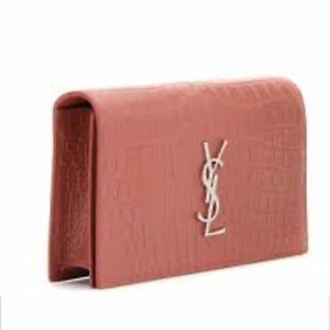 Authentic YSL monogram leather clutch in blush/pink